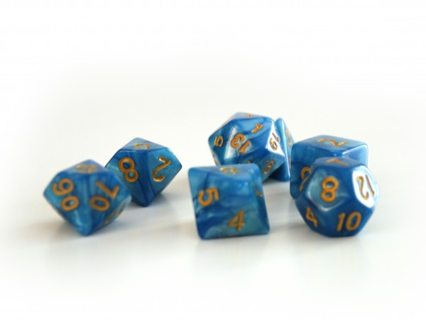 Würfelset Pearl: Azur/Gold (7)