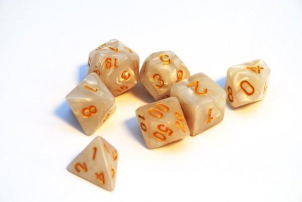 Würfelset Pearl: White/Gold (7)