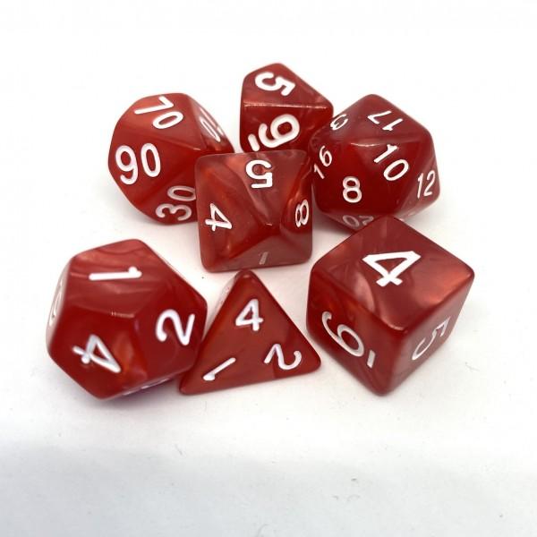 Würfelset Pearl: Red/White (7)