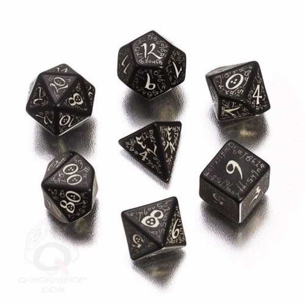 Elvish Dice Black/Glow-in-the-Dark (7)