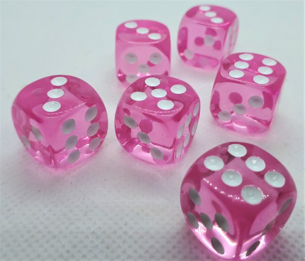 Würfelset D6 Transparent: Pink (12)