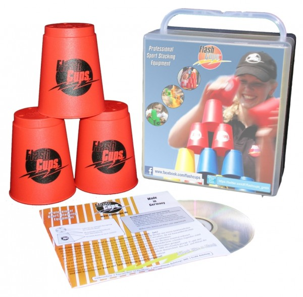 Speed Stacking: FlashCups (12 Stk., rot) mit Lunchbox+DVD
