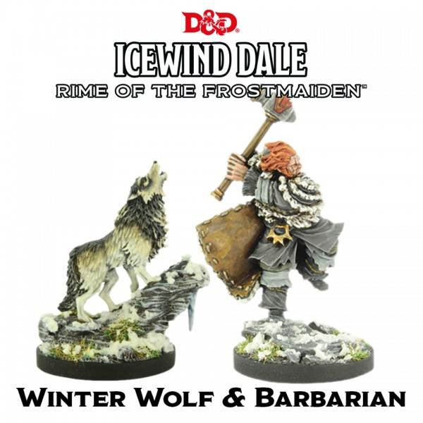 D&D: Icewind Dale - Rime of the Frostmaiden: Winter Wolf & Barbarian (2 Figuren)