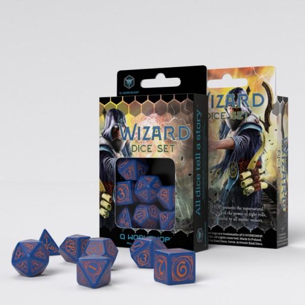 Wizard Dark-blue & orange Dice Set (7)