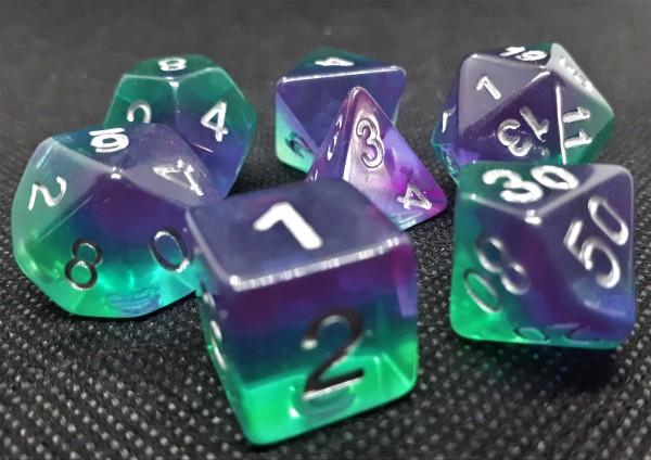 Würfelset Transparent: Violet Evergreen (7)