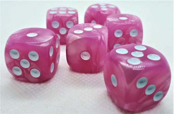 Würfelset D6 Pearl: Pink/White (12)