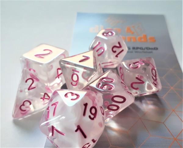 Würfelset Transparent: Pink Princess (7)