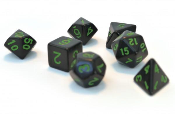 Würfelset Pearl: Black/Green (7)