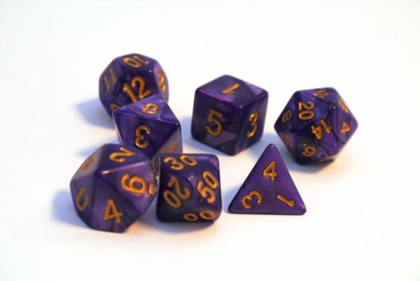 Würfelset Pearl: Purple/Gold (7)