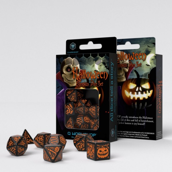 Halloween Pumpkin Black & orange Dice Set (7)