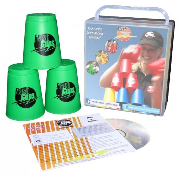 Speed Stacking: FlashCups (12 Stk., grün) mit Lunchbox+DVD