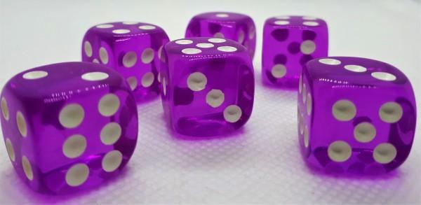Würfelset D6 Transparent: Purple (12)