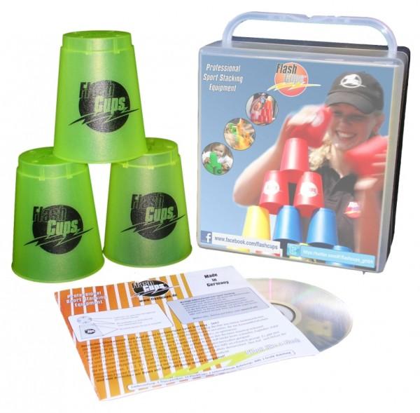Speed Stacking: FlashCups (12 Stk., lemon) mit Lunchbox+DVD