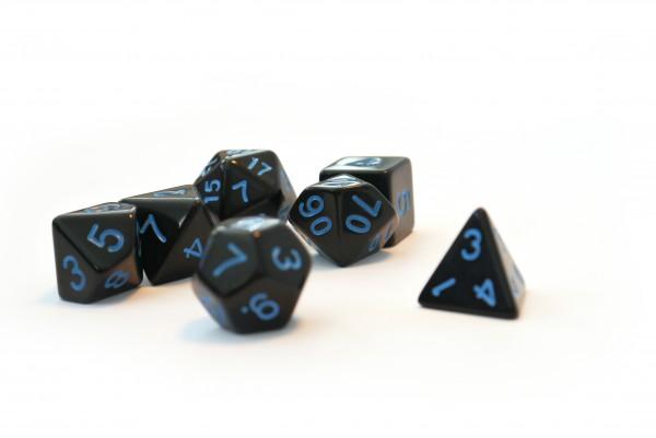 Würfelset Pearl: Black/Blue (7)
