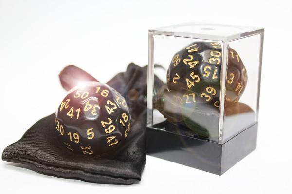 Dice-Up D50 in Acrylbox + Satinbag - Black/Gold