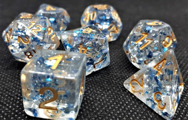 Würfelset Confetti: Blue Flakes (7)