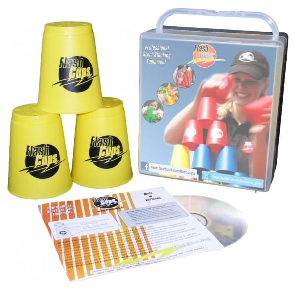 Speed Stacking: FlashCups (12 Stk., gelb) mit Lunchbox+DVD