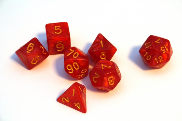 Würfelset Pearl: Red/Gold (7)