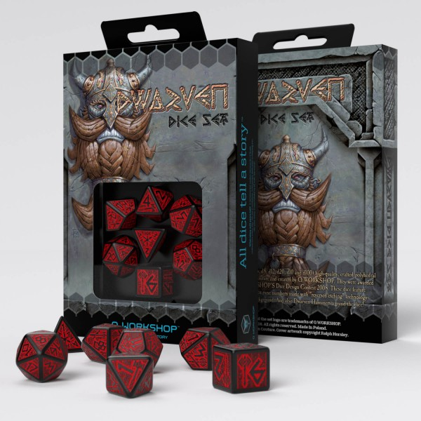 Dwarven Dice Black/Red (7)