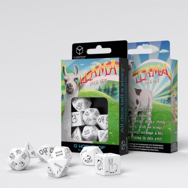 Bright Llama Dice White/Black (7)