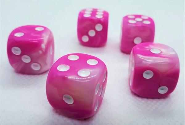 Würfelset D6 Two Toned: Pink/White (12)