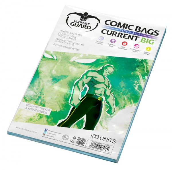 Comic Bags Big Resealable Thick Current Size (100)