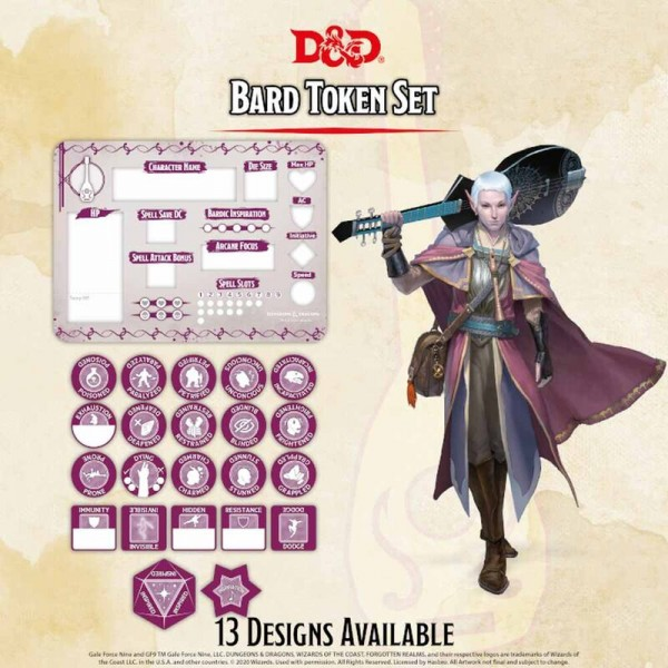 Dungeon & Dragons: Bard Token Set