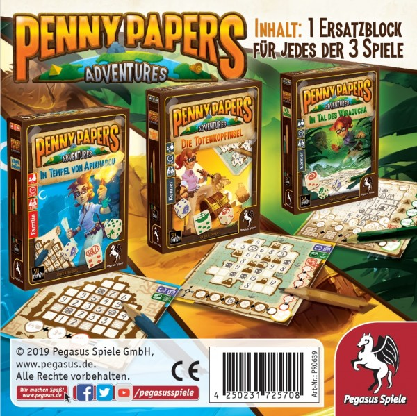 Penny Papers Adventure: Ersatzblöcke für 3 Spiele