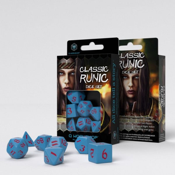 Classic Runic Blue/Red Dice Set (7)
