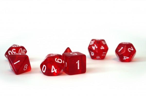 Würfelset Transparent: Red (7)