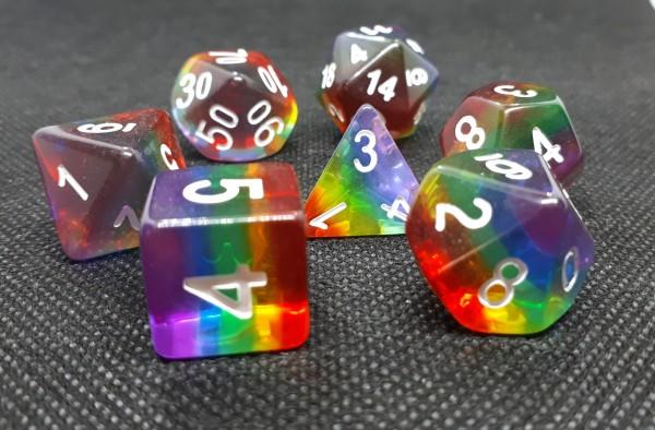 Würfelset Transparent: Rainbow (7)