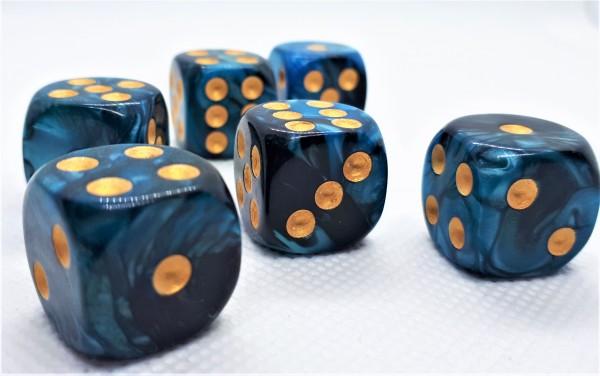 Würfelset D6 Two Toned: Blue/Black+Gold (12)