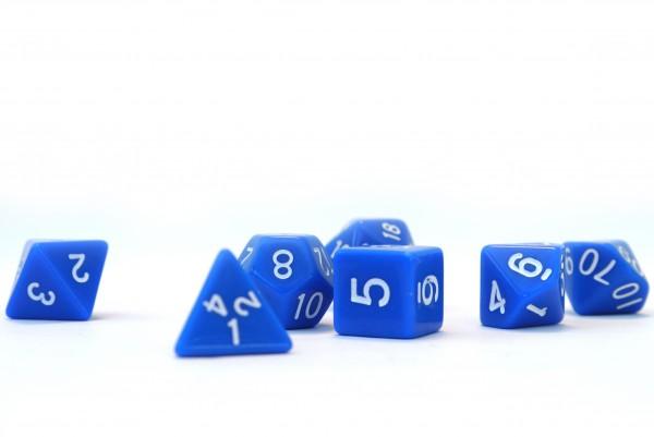 Würfelset Opaque: Blue/White (7)