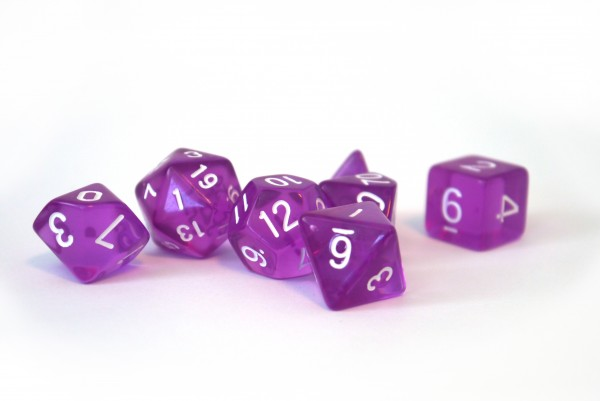 Würfelset Transparent: Purple (7)
