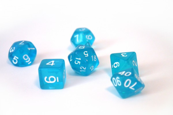 Würfelset Transparent: Blue (7)