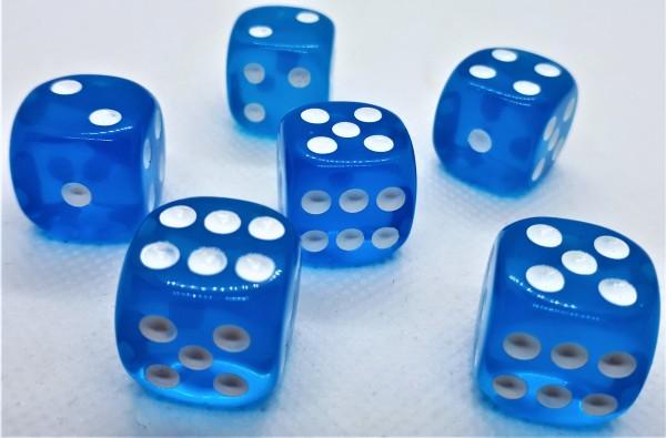 Würfelset D6 Transparent: Light Blue (12)