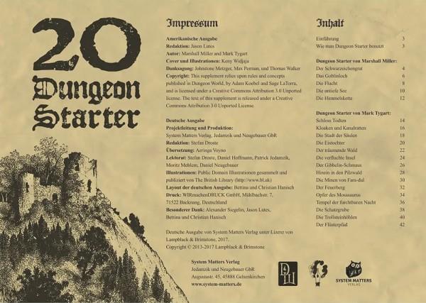 Dungeon World: 20 Dungeon Starter