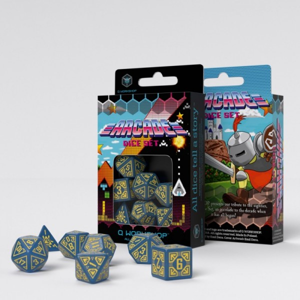 Arcade Blue & Yellow Dice Set (7)