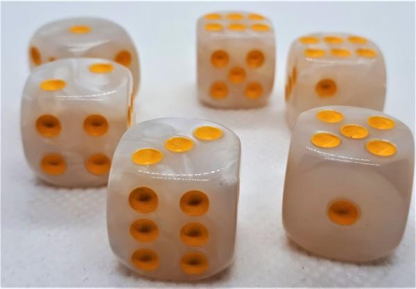 Würfelset D6 Pearl: White/Gold (12)